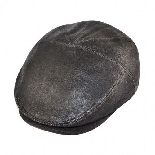 Leather 5 Panel Flat Cap - Black